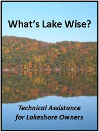 view of lake with hills of autumn foliage in background - link to 'What's Lake Wise - technical assistance for lakeshore owners'