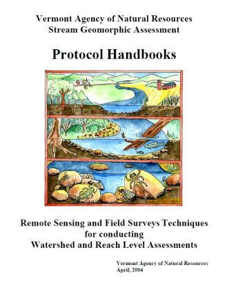 Stream Geomorphic Assessment Protocol Handbook Cover, drawing of a river corridor, including both above and underwater features